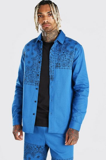 Blue Bandana Panel Print Overshirt