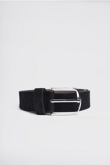 Black Faux Suede Effect Belt