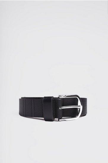 Black Perforated Detail Belt