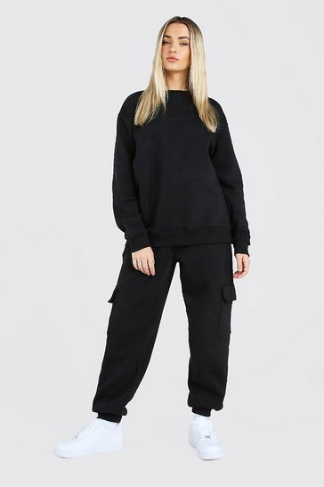 Black Hers Loose Fit Utility Sweater Tracksuit