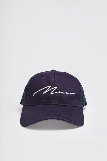 Navy MAN Script Cotton Mesh Back Cap