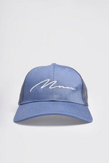 Light blue MAN Script Cotton Mesh Back Cap