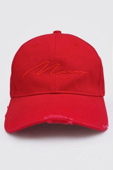 Red MAN Script Distressed Detail Cap