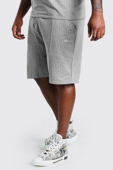 Grey Big And Tall MAN Pinstripe Jacquard Shorts