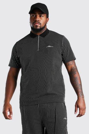 Black Big And Tall MAN Pinstripe Jacquard Polo