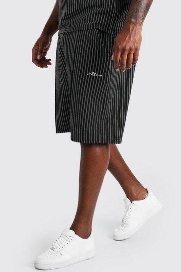 Black Big And Tall MAN Pinstripe Jacquard Shorts