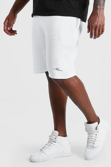White Big And Tall MAN Script Jersey Short