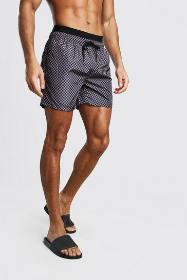 Black Mid Length Double Waist Check Print Swim Short