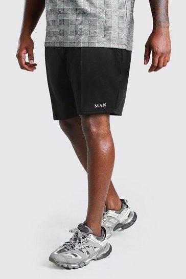Black Big And Tall MAN Roman Pintuck Scuba Short