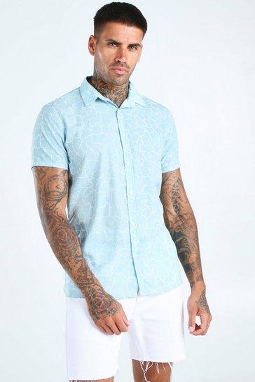 Mint Short Sleeve Abstract Print Shirt