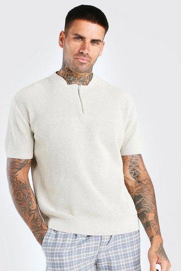 Stone Short Sleeve Textured Half Zip Knit T-Shirt