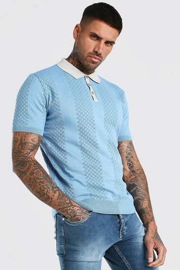 Dusty blue Short Sleeve Contrast Knitted Polo