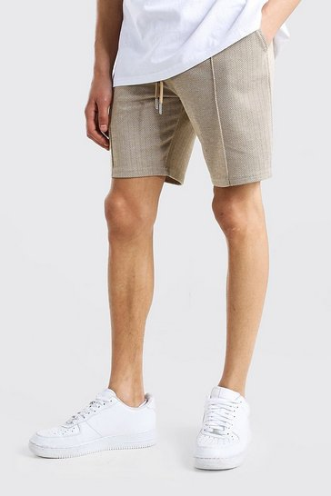Brown Herringbone Pintuck Mid Length Short
