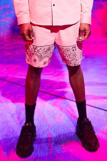 Pink Bandana Panel Twill Shorts