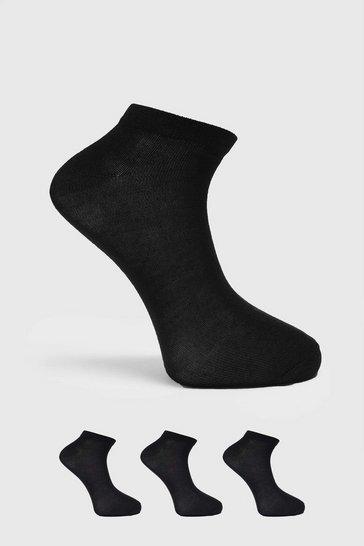 Black 3 Pack Trainer Socks