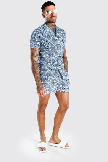 Blue Short Sleeve Bandana Paisley Shirt & Swim Short Set