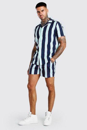 Multi Short Sleeve Vertical Stripe Shirt & Swim Short Set