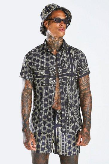 Black Short Sleeve Border Shirt & Swim Short Set