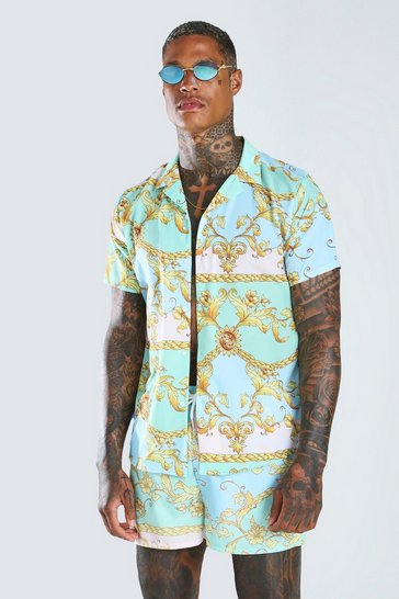 Mint Short Sleeve Baroque Shirt & Swim Short Set