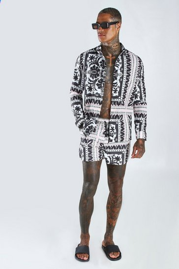 Multi Long Sleeve Border Shirt & Swim Short Set