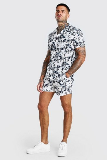 Ecru Short Sleeve Leaf Print Shirt & Swim Short Set