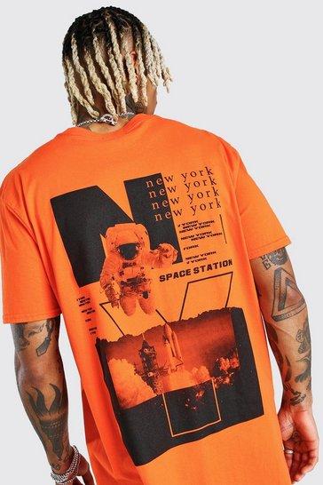 Orange Oversized Astronaut Back Print T-Shirt