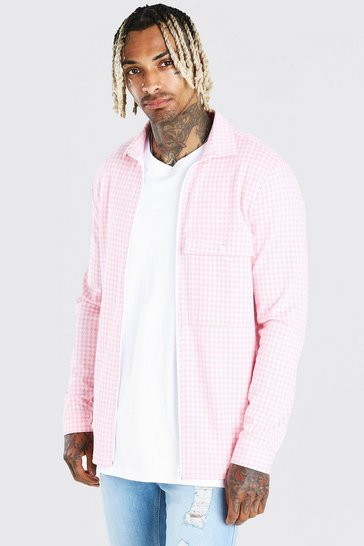 Pink Long Sleeve Dogtooth Overshirt