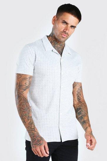 Grey Short Sleeve Revere Collar Dogtooth Shirt