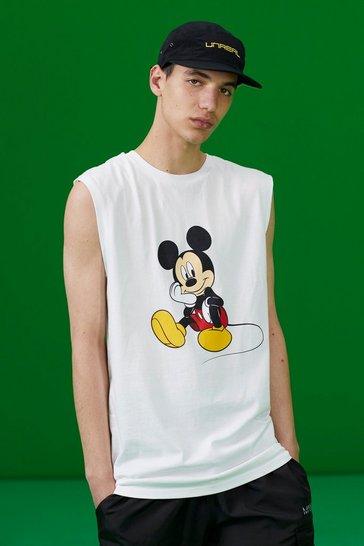 White Disney Mickey Printed Tank
