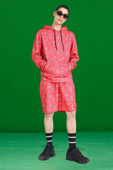 Red Disney All Over Mickey Print Short Tracksuit