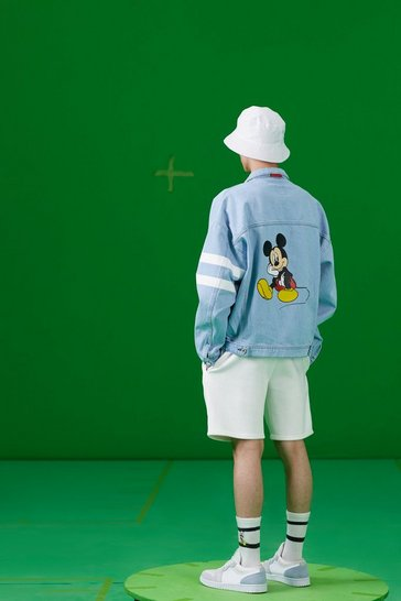 Blue Disney Loose Fit Denim Jacket With Mickey Back Print