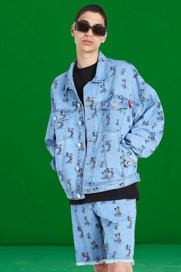 Blue Disney All Over Mickey Print Loose Fit Denim Jacket