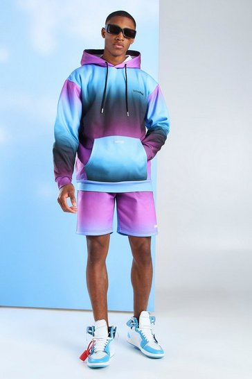 Blue MAN Official Gradient Print Short Tracksuit