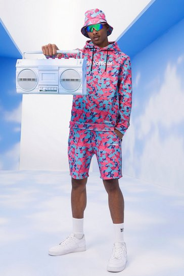 Pink MAN Camo Short Tracksuit With Tape