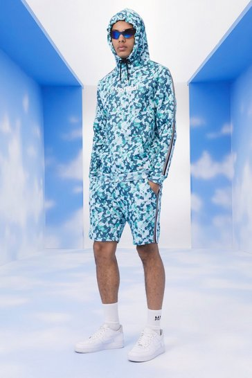 Blue MAN Camo Short Tracksuit With Tape