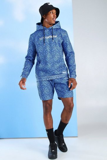 Blue MAN Official Animal Print Short Tracksuit
