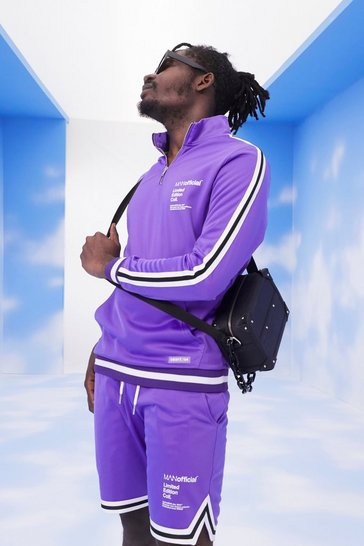 Purple MAN Official Poly Tape Track Top & Short