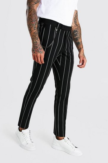 Black Skinny Stripe Chain Detail Smart Trouser