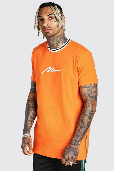 Orange Longline MAN Signature Sports Rib Tee With Zips
