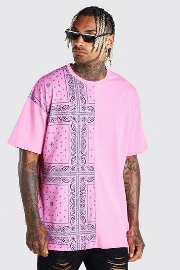 Pink Oversized Bandana Spliced T-Shirt With Badge