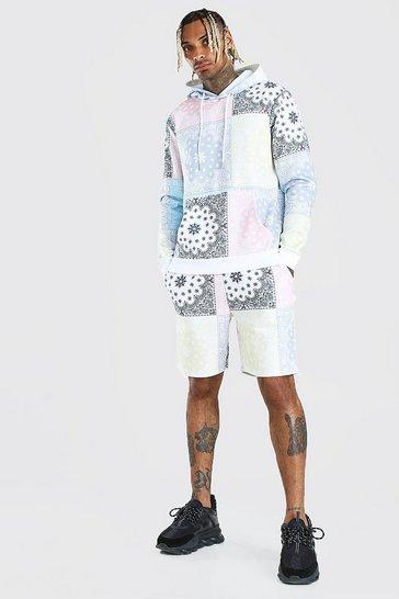Multi Pastel Repeat Bandana Print Hooded Short Tracksuit