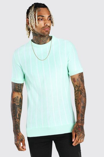 Mint Stripe Knitted T-Shirt