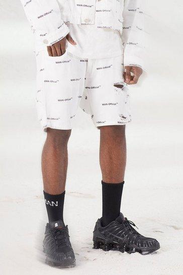White Slim Fit MAN Repeat Print Denim Shorts