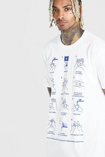 White Oversized Hand Wash Instructions T-Shirt