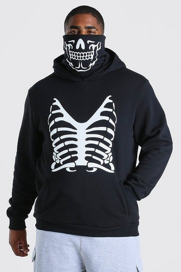 Black Big And Tall Skeleton Print Snood Hoodie