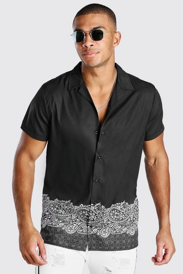 Black Short Sleeve Revere Collar Border Print Shirt