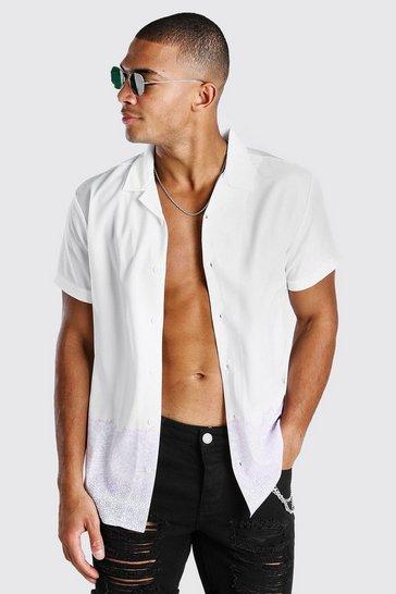 White Short Sleeve Revere Collar Border Print Shirt
