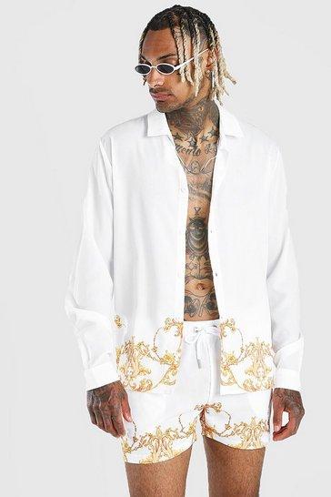 White Long Sleeve Baroque Border Print Shirt