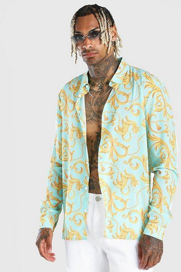 Aqua Long Sleeve Baroque Print Shirt