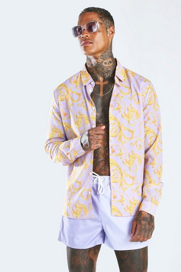 Lilac Long Sleeve Baroque Print Shirt